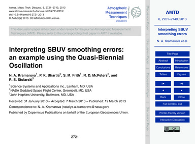 Interpreting Sbuv Smoothing Errors: an E... by Kramarova, N. A.