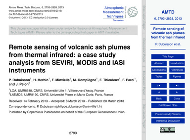 Remote Sensing of Volcanic Ash Plumes fr... by Dubuisson, P.