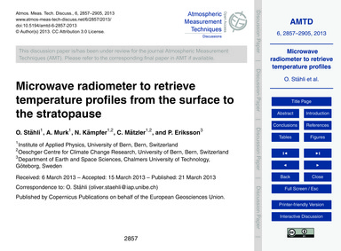 Microwave Radiometer to Retrieve Tempera... by Stähli, O.