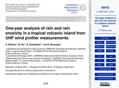 One-year Analysis of Rain and Rain Erosi... by Réchou, A.
