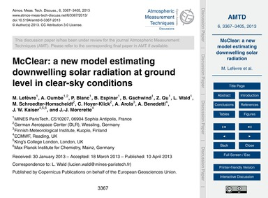 McClear: a New Model Estimating Downwell... by Lefèvre, M.