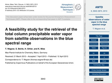 A Feasibility Study for the Retrieval of... by Wagner, T.