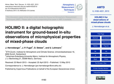 Holimo II: a Digital Holographic Instrum... by Henneberger, J.