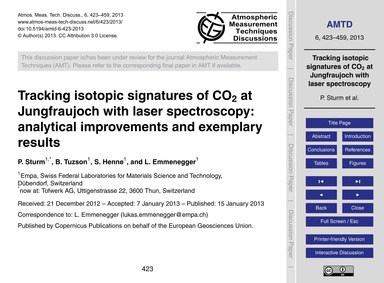 Tracking Isotopic Signatures of Co2 at J... by Sturm, P.