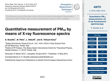 Quantitative Measurement of Pm10 by Mean... by Busetto, E.