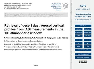 Retrieval of Desert Dust Aerosol Vertica... by Vandenbussche, S.