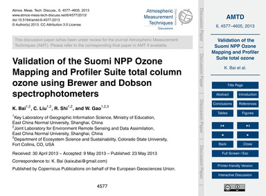 Validation of the Suomi Npp Ozone Mappin... by Bai, K.