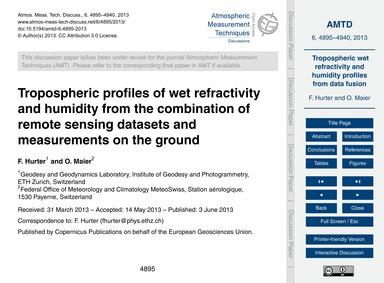 Tropospheric Profiles of Wet Refractivit... by Hurter, F.
