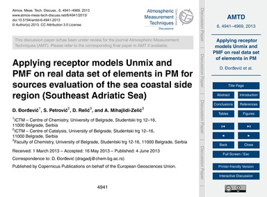 Applying Receptor Models Unmix and Pmf o... by Đorđević, D.