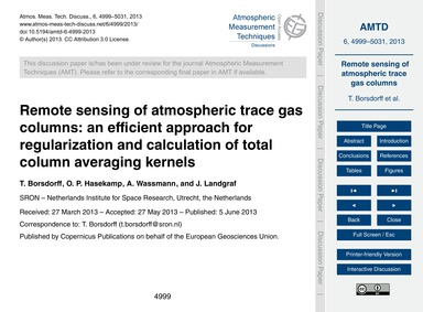Remote Sensing of Atmospheric Trace Gas ... by Borsdorff, T.