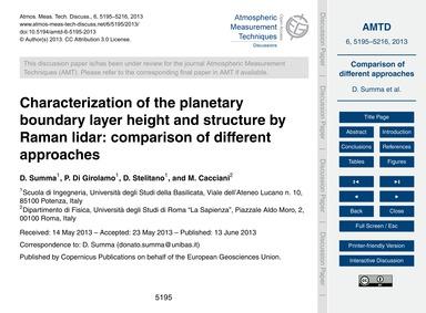 Characterization of the Planetary Bounda... by Summa, D.