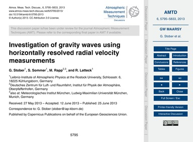 Investigation of Gravity Waves Using Hor... by Stober, G.