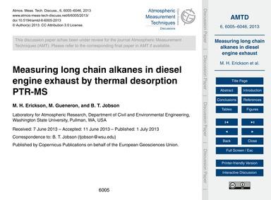 Measuring Long Chain Alkanes in Diesel E... by Erickson, M. H.