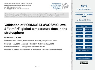 Validation of Formosat-3/Cosmic Level 2 ... by Das, U.