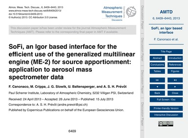 Sofi, an Igor Based Interface for the Ef... by Canonaco, F.