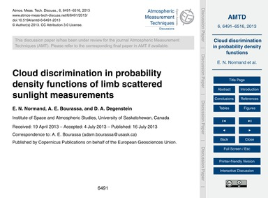Cloud Discrimination in Probability Dens... by Normand, E. N.