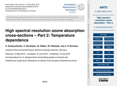 High Spectral Resolution Ozone Absorptio... by Serdyuchenko, A.