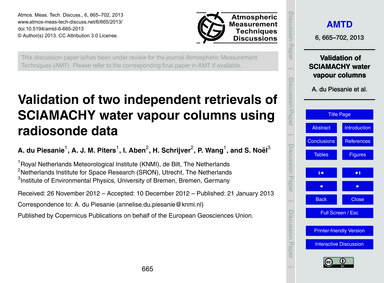 Validation of Two Independent Retrievals... by Du Piesanie, A.