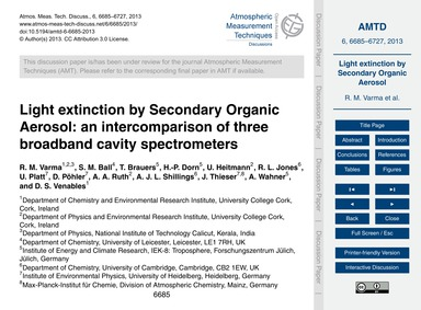 Light Extinction by Secondary Organic Ae... by Varma, R. M.