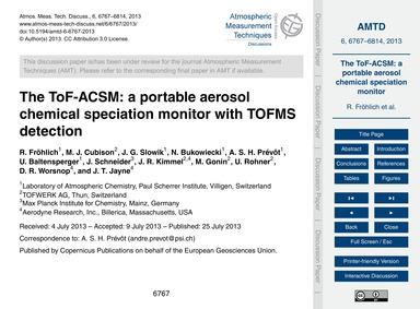 The Tof-acsm: a Portable Aerosol Chemica... by Fröhlich, R.