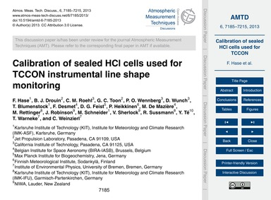 Calibration of Sealed Hcl Cells Used for... by Hase, F.