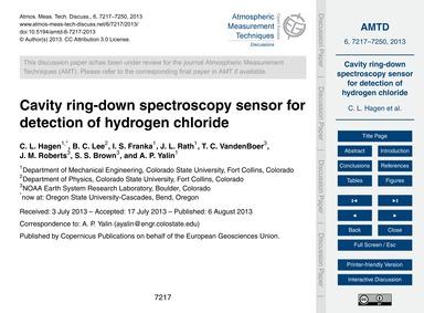 Cavity Ring-down Spectroscopy Sensor for... by Hagen, C. L.