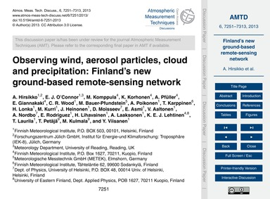 Observing Wind, Aerosol Particles, Cloud... by Hirsikko, A.
