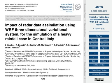 Impact of Radar Data Assimilation Using ... by Maiello, I.