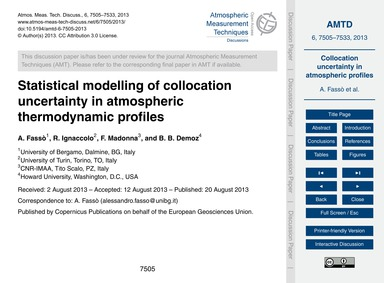 Statistical Modelling of Collocation Unc... by Fassò, A.