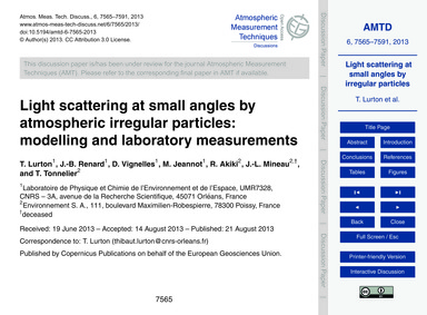 Light Scattering at Small Angles by Atmo... by Lurton, T.