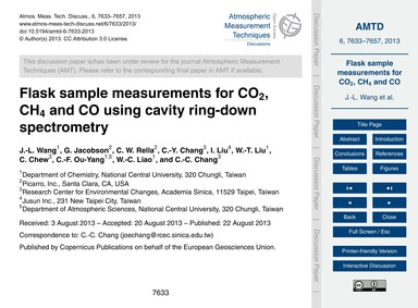 Flask Sample Measurements for Co2, Ch4 a... by Wang, J.-l.
