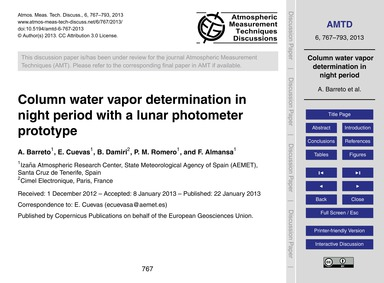 Column Water Vapor Determination in Nigh... by Barreto, A.