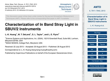 Characterization of in Band Stray Light ... by Huang, L.-k.