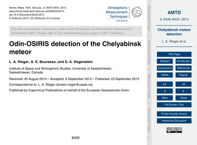 Odin-osiris Detection of the Chelyabinsk... by Rieger, L. A.