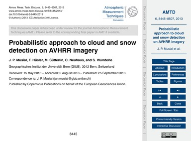 Probabilistic Approach to Cloud and Snow... by Musial, J. P.
