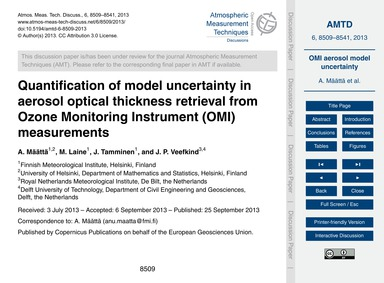Quantification of Model Uncertainty in A... by Määttä, A.