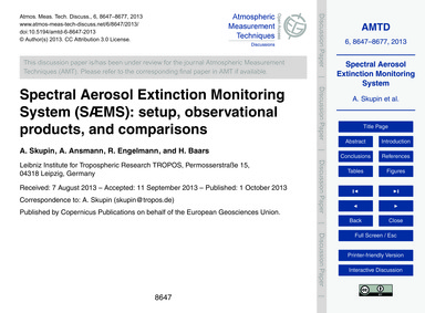 Spectral Aerosol Extinction Monitoring S... by Skupin, A.