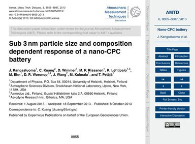 Sub 3 Nm Particle Size and Composition D... by Kangasluoma, J.