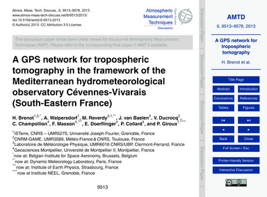 A Gps Network for Tropospheric Tomograph... by Brenot, H.