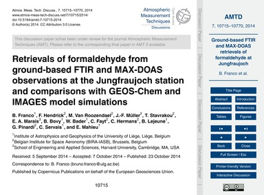 Retrievals of Formaldehyde from Ground-b... by Franco, B.