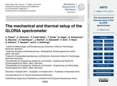 The Mechanical and Thermal Setup of the ... by Piesch, C.