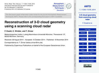 Reconstruction of 3-d Cloud Geometry Usi... by Ewald, F.