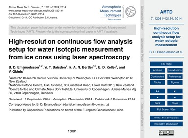 High-resolution Continuous Flow Analysis... by Emanuelsson, B. D.
