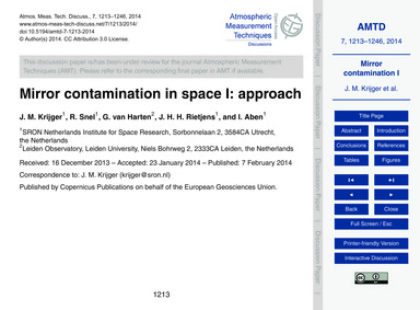 Mirror Contamination in Space I: Approac... by Krijger, J. M.
