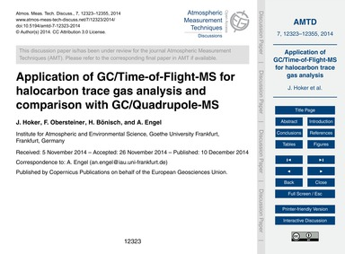 Application of Gc/Time-of-flight-ms for ... by Hoker, J.