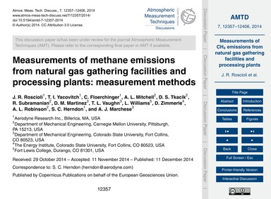 Measurements of Methane Emissions from N... by Roscioli, J. R.