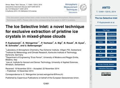 The Ice Selective Inlet: a Novel Techniq... by Kupiszewski, P.