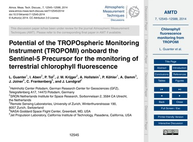 Potential of the Tropospheric Monitoring... by Guanter, L.