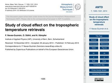 Study of Cloud Effect on the Tropospheri... by Navas-guzmán, F.
