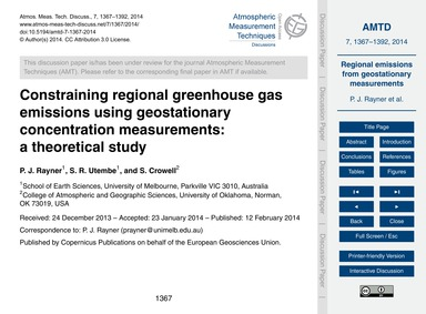 Constraining Regional Greenhouse Gas Emi... by Rayner, P. J.